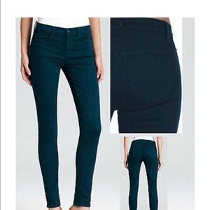 J Brand Super Skinny Jeans in Aegean Blue Teal